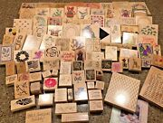 Huge Lot Of Over 140 Wooden Stampin' Stamping Up And Other Stamps