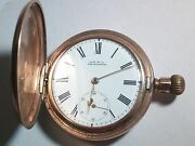 American Waltham Pocket Watch Hunting Case, 2 Sheets Of Gold, Running, Needs Ove