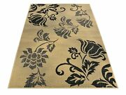 Gray Black And Beige Modern Flowers Floral Design Area Rugs Rug 5x7 5 X 7 5 By 7