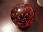 Vintage Signed Td From Wheaton Village Glass Red Orange Waves Paperweight 3