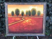 Catan Original Abstract Modern Landscape Vintage Mid Century Signed Oil Canvas