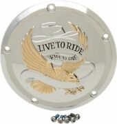 Chrome Gold Eagle Live To Ride Clutch Derby Cover For Harley Touring 16-18 Flht