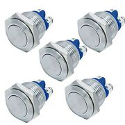 5pcs 16mm Anti-vandal Momentary Push Button Switch For Car Boat Door Horn Bells