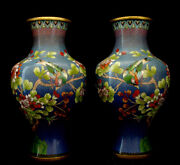 15 1/4 H Vintage Chinese Cloisonne Blue Mirror Pair Vase / Ready For Lamp