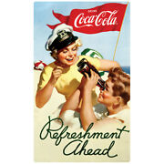 Coca-cola Boating Refreshment Ahead 1950s Wall Decal Vintage Style Coke