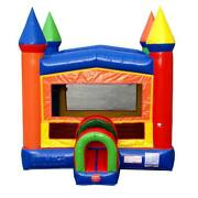 Commercial Inflatable Bounce House With Blower Modular Rainbow Castle Moonwalk