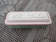Antique French Graniteware Enamelware Decorated Toilette Box Flowers