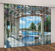 3d Garden Swimming Pool Scenic Printing Window Curtains Blockout Drapes Fabric