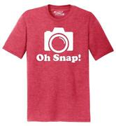 Mens Oh Snap Funny Photographer Shirt Tri-blend Tee Photography Camera Picture