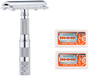 Merkur Travel Safety Razor With Bar And Leather Pouch 210 + 20 Blades
