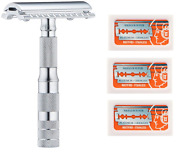 Merkur Travel Safety Razor With Bar And Leather Pouch 210 + 30 Blades