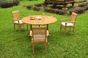 4pc Grade-a Teak Dining Set 60 Round Table 3 Mas Stacking Arm Chair Outdoor