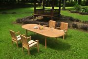 5pc Grade-a Teak Dining Set 118 Oval Table 4 Wave Stacking Arm Chair Outdoor