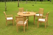 6pc Grade-a Teak Dining Set 52 Round Table 5 Mas Stacking Arm Chair Outdoor