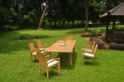 7pc Grade-a Teak Dining Set 118 Rectangle Table 6 Wave Stacking Arm Chair Patio