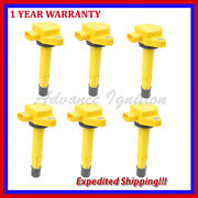 Yellow Ignition Coils Uf400 Q6jhd286y For Honda Acura 3.5l V6 1.7l L4