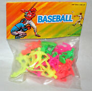 Set Dime Store Neon Color Toy Baseball Players Plastic 70s Nos New Mib Hong Kong