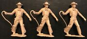 3 Vintage Rare 1957 Marx 54mm Cowboy Standing With Whip Lot Roy Rogers Playset
