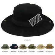 Military American Flag Hook And Loop Patch Boonie Cap With Chin Strap
