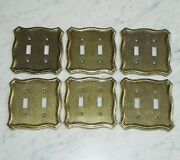 6 American Tack And Howe N70tt Brass Tone Metal Double Light Switch Plate Covers