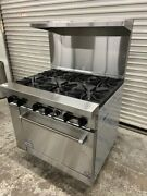 New 36 6 Burner Range And Gas Oven Stratus Sr-6 7227 Commercial Stove Nsf Open