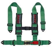 Stv Motorsports Safety Seat Belt Harness Green 4-point 3 Straps Latch And Link
