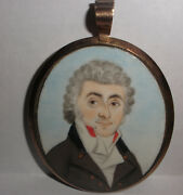Fine Antique English 18th Miniature Painting Man Portrait Mourning Hair 14k Gold