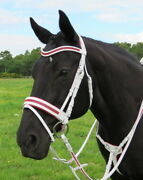 Fss Glisten Curve U Crystal Scarlet Red Bling Cream-white Patent Comfort Bridle
