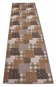 Custom Size Patchwork Design Runner Rug Polyester Fabric And Non Skid Back 26 W