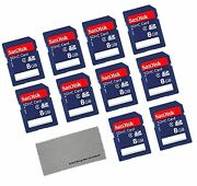 Sandisk 8 Gb Class 4 Sd Flash Memory Card - 10 Pack With Everything But S... New