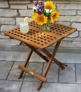 Patio Small Folding Garden Table Eucalyptus Solid Wood Deck Grid Top Assembled