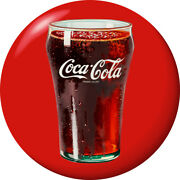 Coca-cola Bell Glass Disc Red Removable Wall Decal Button Style
