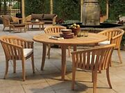 Lenong 5-pc Outdoor Teak Dining Patio Set 52andrdquo Round Table 4 Arm Chairs
