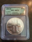 1984-s Olympics Icg Ms70 Commemorative 1 Silver Dollar - Only 51 Exist
