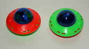 4 Dime Store Toy Plastic Friction Ufo Space Ship 1980s Nos New Flying Saucer