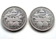 Usa 2 X 1/2 Dollar 1892 And 1893 Silver The First American Commemorative Coin R41