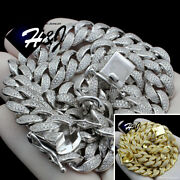 18-24men 925 Sterling Silver 12mm Gold/silver Miami Cuban Curb Chain Necklace