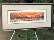 Gonshaw Timberline Abstract Modern Landscape Signed Vintage Panoramic Woodcut