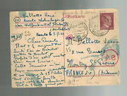 1944 Germany Wolfenbuttel Kz Concentration Camp Pc Cover To France Rene Bellotte