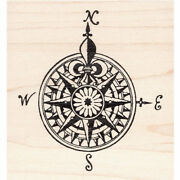 Fancy Map Compass Beeswax Rubber Stamp Mounted Collage Stamping
