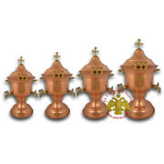 Orthodox Holy Water Font With Lid Metal Cross Decor Copper Agiasmos Weihwasser