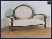Antique English Victorian Carved Solid Walnut Upholstered Couch Sofa Settee