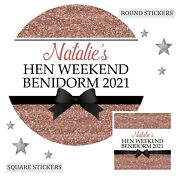 Personalised Hen Do Party Night Weekend Bag Stickers Labels Gloss 12 Colours