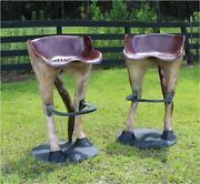 Funny Horse Tail Bar Stools With Foot Rest Custom Painted Western Sold As Pair