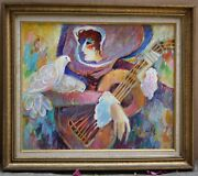 Magnificent French O/c Painting Signed Uki The Guitar Player And Pigeons