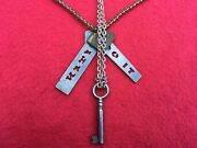 """2 Vintage Necklaces W/charms Antique Key Silver And Gold Metal—18"""" And 23"""""""
