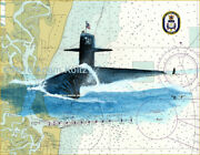 uss Rhode Island Ssbn-740 Giclee Print Of Watercolor Painting On Nautical Chart