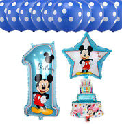 13pcs Disney Theme Foil Helium Balloons For 1st And 2nd Birthday - Boy And Girl