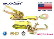 4 Boxer Dot 2x10' Rtj Cluster Hooks Ratchet Strap Tie Down Towing Us Made