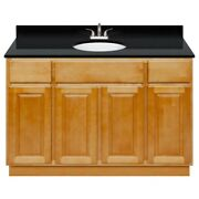 48 Vanity Cabinet Richmond With Granite Top Absolute Black And Faucet Lb5b